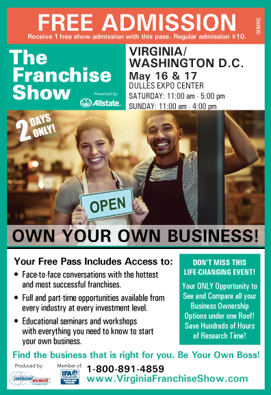 The Virginia D.C. Franchise Show - free admission pass